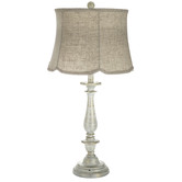 Brushed White Lamp With Woven Shade